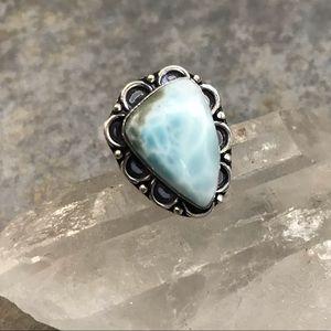 Larimar Sterling Silver Pale Blue Gem Ring 7.5